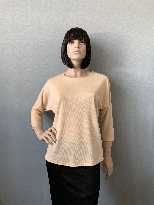 Фото блуза, состав вискоза 70%, полиэстер 25%, 5% эластан, размеры 52-58, артикул 28-1