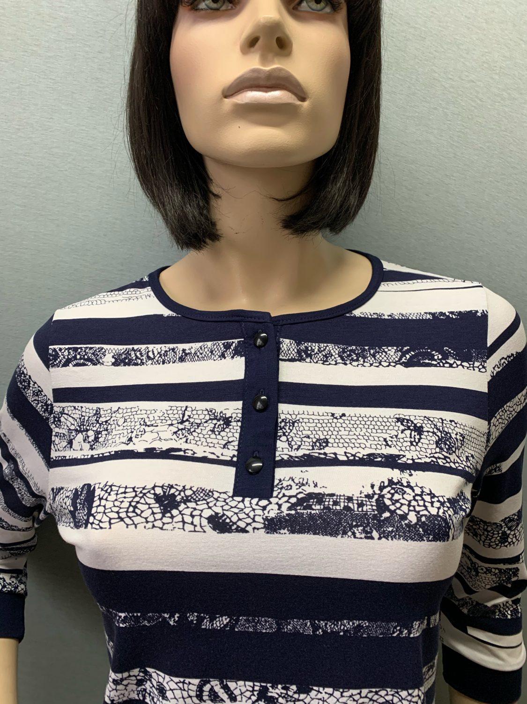 Фото блузка, состав 92% вискоза , 8% эластан, рукав: втачной ,3/4, с манжетой, размеры 46-54, артикул 690-2-n